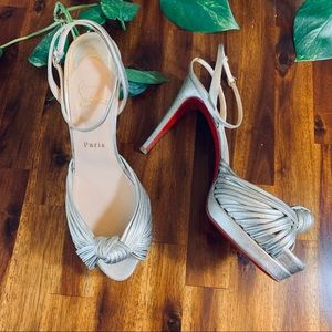 Authentic Christian Louboutin Silver Knot Heels